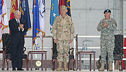 Robert Gates with Fallon and John Abizaid at the CENTCOM Change of Command ceremony, 2007.
