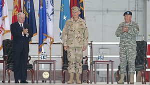 John Abizaid - Robert Gates with Fallon and Abizaid at a CENTCOM change of command ceremony in March 2007.