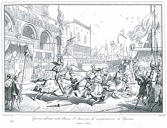 Revolt of Saint Titus - Illustration of a joust in the Piazza San Marco celebrating the recovery of Candia by Giuseppe Lorenzo Gatteri, 1863.