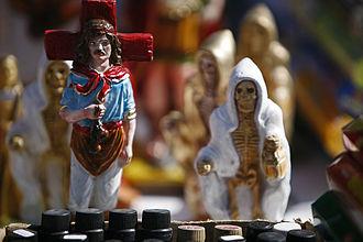 San La Muerte - Figures of Gauchito Gil (left) San La Muerte (right) two popular Saints on display in Argentina.