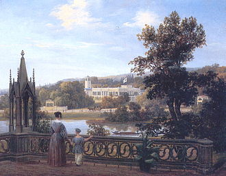 Palaces and Parks of Potsdam and Berlin - Aspect of Glienicke castle from Babelsberg, Carl Daniel Freydank, around 1838