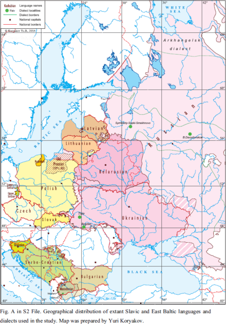 Ethnographic Map of Slavic and Baltic Languages Geographical distribution of extant Slavic and East Baltic languages 2015.png