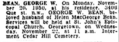 George Wilhelm Bean (1875-1950) funeral notice in the Evening Star of Washington, DC on Monday, November 20, 1950.png
