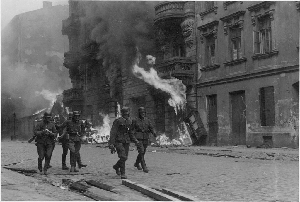 Burning building during the Warsaw Ghetto Uprising 1943
