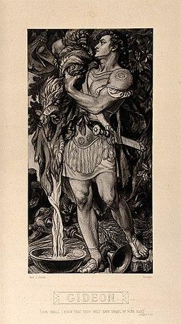 Gideon, the Biblical judge, wrings the dewy fleece. Autotype Wellcome V0034411