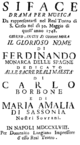 Gioacchino Cocchi - Siface - titlepage of the libretto - Naples 1748.png