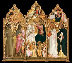 Triptych of the coronation of the Virgin