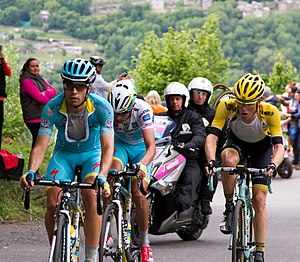 Mikel Landa - Landa (left) with Fabio Aru and Steven Kruijswijk at the 2015 Giro d'Italia