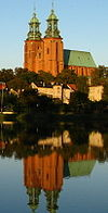 Gniezno. View of cathedral and Jelonek Lake.JPG