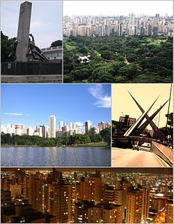 Skyline of Goiânia, Top of left:Monument of tree races in Civic Square, Top of right:Vaca Brava Park and Setor Bueno business area, Middle of left:Jardim Zoological Park in Pedro Lovovico area, Middle of right:Monument in Ratinho Square, Bottom:Night view of downtown Goiânia in Setor Bueno area