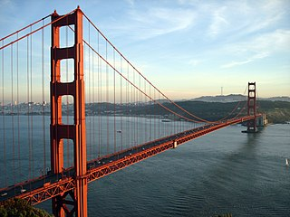 Golden Gate Bridge suspension bridge on the San Francisco Bay