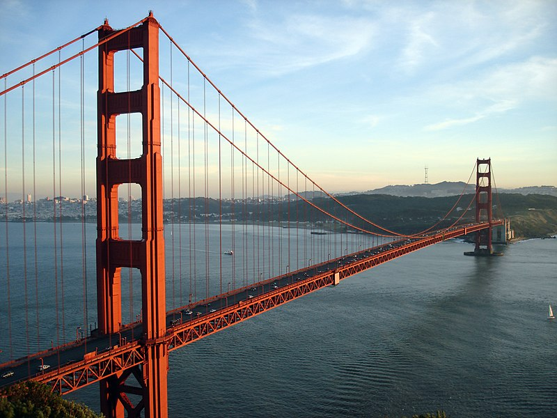 The Golden Gate Bridge and San Francisco, CA at sunset. This photo was taken from the Marin Headlands