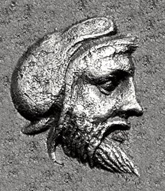 Gongylos - Likely portrait of one of the Gongylid rulers, from a 5th century coin of Pergamon.