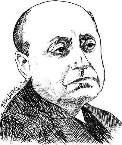 Gottfried Benn ca. 1951; Zeichnung von Tobias Falberg.
