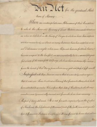 An Act for the Gradual Abolition of Slavery - An Act for the Gradual Abolition of Slavery, Supreme Executive Council of Pennsylvania, March 1, 1780. Pennsylvania State Archives.