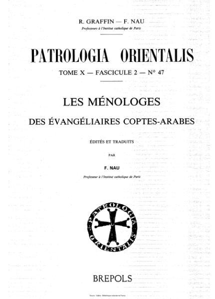 File:Graffin - Nau - Patrologia orientalis, tome 10, fascicule 2, n°47 - Les Ménologes des évangiliaires Coptes-Arabes.djvu