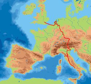 Grand Tour - William Beckford's Grand Tour through Europe shown in red
