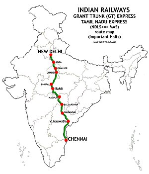 New Delhi–Chennai main line - Image: Grand Trunk Express and Tamil Nadu Express (NDLS MAS) Route map