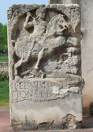 Roman funerary practices - Tombstone of a Germanic cavalryman (1st century AD, Xanten)