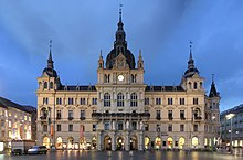 Rathaus (Town Hall) at dusk