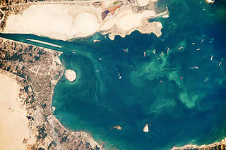 salt water lake that is part of the Suez Canal