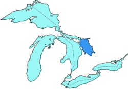 Carte de localisation de la baie Georgienne parmi les Grands Lacs.