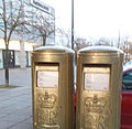 Greg Rutherford's gold postbox in Milton Keynes, Buckinghamshire (2).jpg