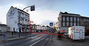 Border control - No border control: Border crossing between two Schengen Agreement states, view from Germany to the Netherlands. The Netherlands begins at the red line added to the photo.