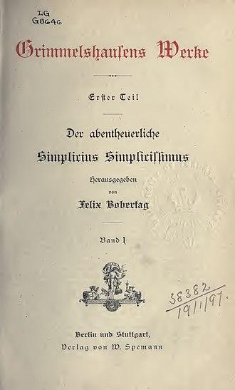 Simplicius Simplicissimus - Der abentheuerliche Simplicius Simplicissimus, vol. I; 1882 edition