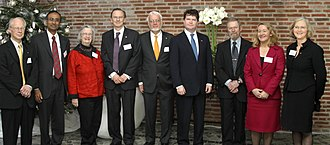 Elinor Ostrom with the other 2009 Nobel Laureates. Group Photo (4171912803).jpg