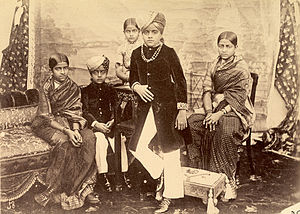 Princely state - An 1895 group photograph of the eleven-year-old Krishnaraja Wadiyar IV, ruler of the princely state of Mysore in South India, with his brothers and sisters.  In 1799, his grandfather, then aged five, had been granted dominion of Mysore by the British and forced into a subsidiary alliance.  The British later directly governed the state between 1831 and 1881.