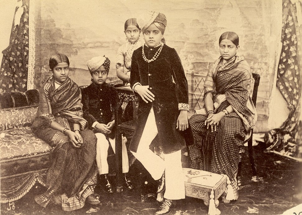Group portrait of the Maharaja of Mysore and his brothers and sisters