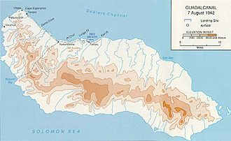 Battle of Mount Austen, the Galloping Horse, and the Sea Horse - Guadalcanal. Lunga Point and Mount Austen are at the upper-center-left of the map.