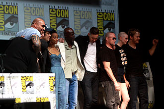 Guardians of the Galaxy (film) - The cast and crew of Guardians of the Galaxy at the 2013 San Diego Comic-Con International. (L-R: producer Kevin Feige, Bautista, director James Gunn, del Toro, Saldana, Hounsou, Pace, Rooker, Gillan, and Pratt)