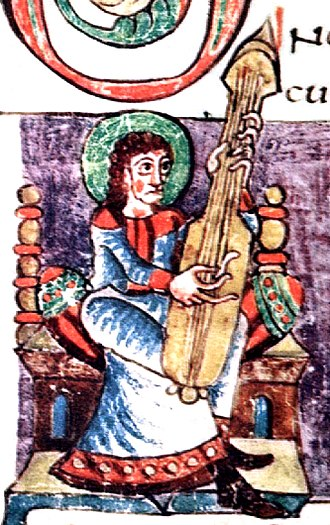 "Guitar - Illustration labeled ""cythara"" in the Stuttgart Psalter, a Carolingian psalter from the 9th century. The instrument shown is of the chordophone family, possibly an early citole or lute"