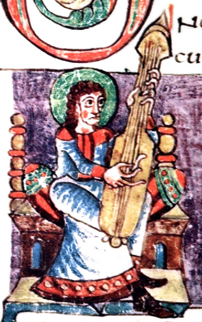 Guitar-like plucked instrument, Carolingian Psalter, 9th century manuscript, 108r part, Stuttgart Psalter