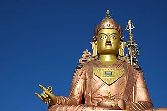 Namchi - Statue of Guru Rinpoche, the patron saint of Sikkim. The statue in Namchi is the tallest statue of the saint in the world at 36 metres (120 ft).