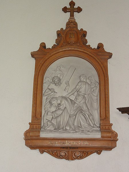 Gussignies (Nord, Fr) église, chemin de croix, station 03.