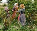 H. A. Brendekilde - Tre småpiger plukker brombær (ca1885).jpg