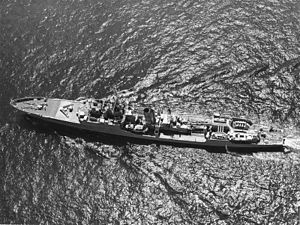 Aerial view of Blackwood-class frigate HMS Hardy (F54). 14 July 1969 (IWM HU 129855)