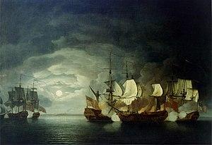 Roebuck-class ship - Battle between Continental Ship ''Bonhomme Richard'' and HMS Serapis, 23 September 1779, by Thomas Mitchell, 1780, US Naval Academy Museum