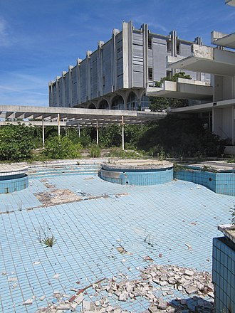 Haludovo Palace Hotel - Ruin of Haludovo Palace Hotel as seen from pool area