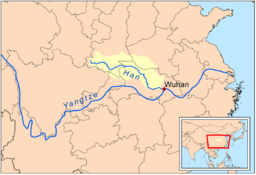 Map highlighting watershed of the Han Jiang