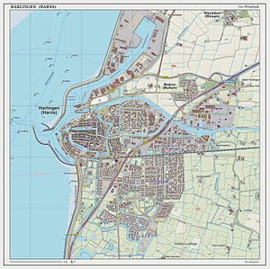 Harlingen, Netherlands - Dutch Topographic map of Harlingen, June 2014
