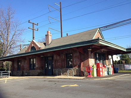 Hatboro was the extent of electrified service until 1974 Hatboro PA SEPTA station from parking lot December 2015.jpg
