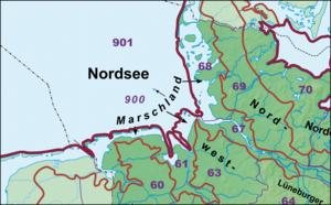 Natural regions of Germany - Image: Haupteinheitengruppe n Nordsee und Marschen
