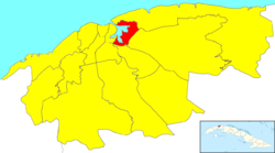 Location of Regla in Havana