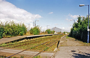 Railtrack - Hawarden Bridge station with typical station track in 1999.
