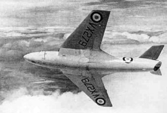 Hawker P.1081 - The Hawker P.1081 breaking right, in 1950.