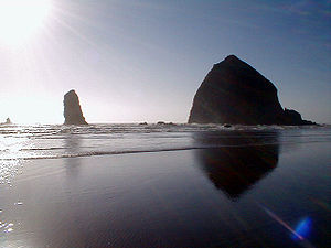 "Haystack Rock - Haystack Rock with ""The Needles"""